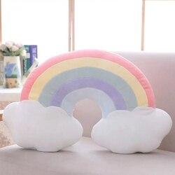 Cukierki kolor chmura gwiazda księżyc Rainbow poduszka okrągły kształt nadziewane piłka do softballu poduszka poduszka Home Sofa Decor poduszka prezent dla przyjaciela w Poduszki pościelowe od Dom i ogród na