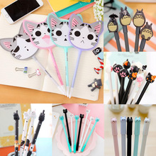 20pcs Cute Cat Pen Kawaii Silicone Head Gel Black Signature Water Student Office School Supplies Cartoon Stationery