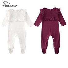 Г. Весенне-осенняя одежда для малышей комплект одежды для новорожденных мальчиков и девочек, кружевные Гольфы с оборками, однотонный комбинезон с длинными рукавами, наряд