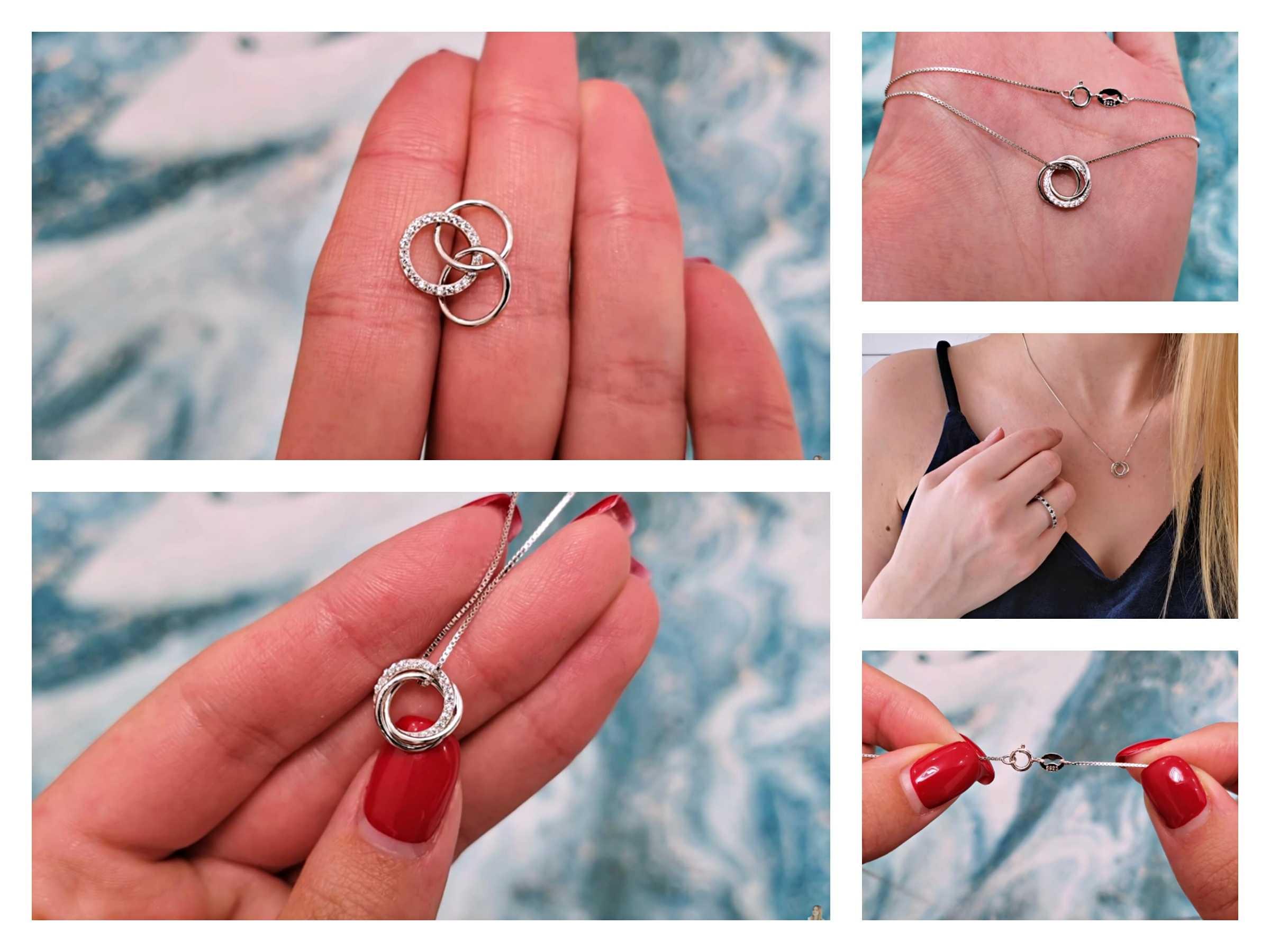 Orsa Juwelen Trendy Eenvoudige Ketting 925 Sterling Zilver Vrouwen Kettingen Met 3 Grote Cirkel Aaaa Zirkoon Sieraden Huwelijkscadeau OSN175