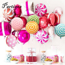 10pcs/lot colorful candy foil balloons 18 inch round lollipop aluminum balls wedding birthday baby party decoration