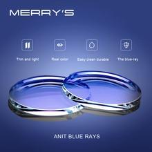 Merrys anti luz azul bloqueando 1.56 1.61 1.67 prescrição CR 39 resina asférica óculos lentes miopia hyperopia presbiopia lente