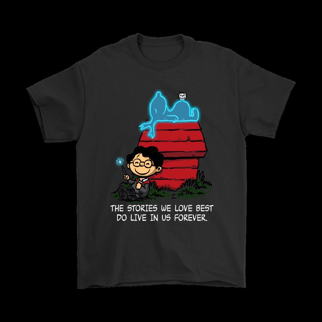 HARRY Snoopie Peanuts Harry Charlie Patronus Peanut Black T-shirt Size S - 3XL Men Women Unisex Fashion Tshirt Free Shipping