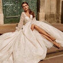 Роскошное винтажное кружевное свадебное платье с v образным
