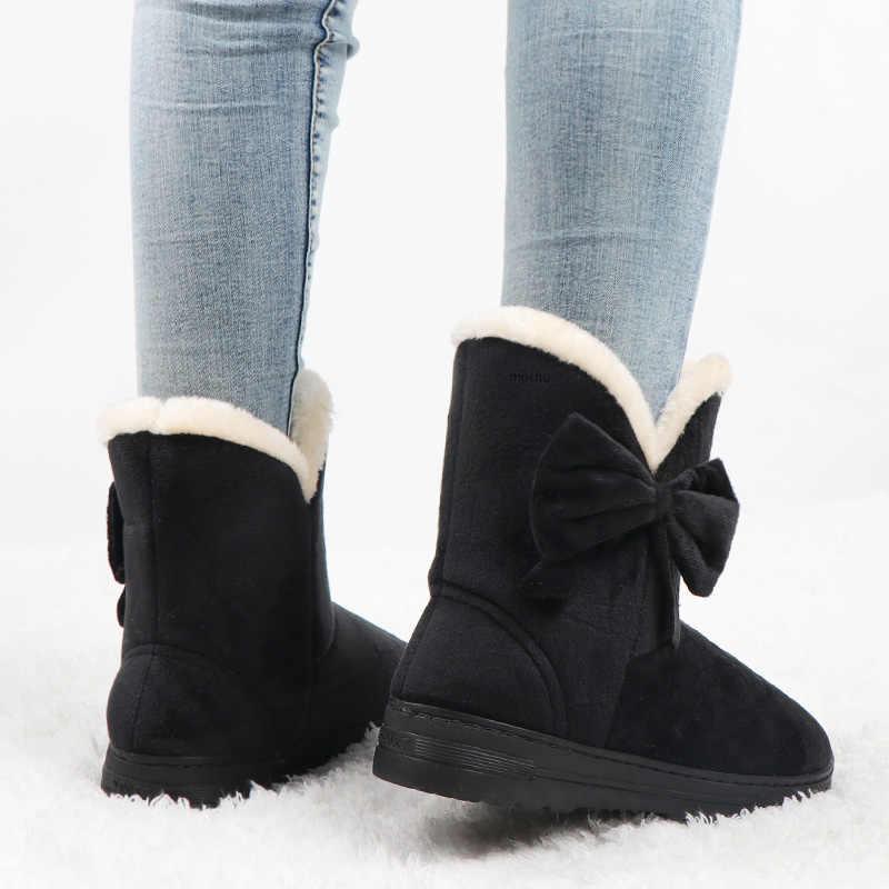 Botines de Invierno para mujer Botas de nieve para mujer Botas de plataforma de Bowtie para mujer zapatos deslizantes de mariposa sólida Botas femeninas 2019