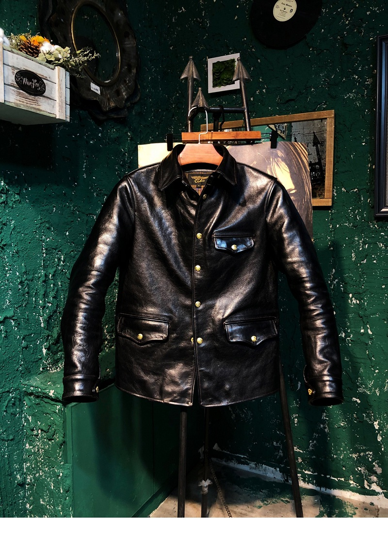 YR!Free Shipping.Italy Tanned Tea Core Horsehide.brakeman Style Leather Jacket,men Vintage Classic Genuine Leather Coat,