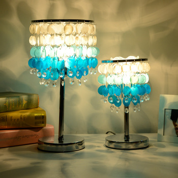 Blue Shell Shape Crystal Lamp Creative Mediterranean Desk Lamp Bedroom Glass Lampshade Table Lamps for Living Room