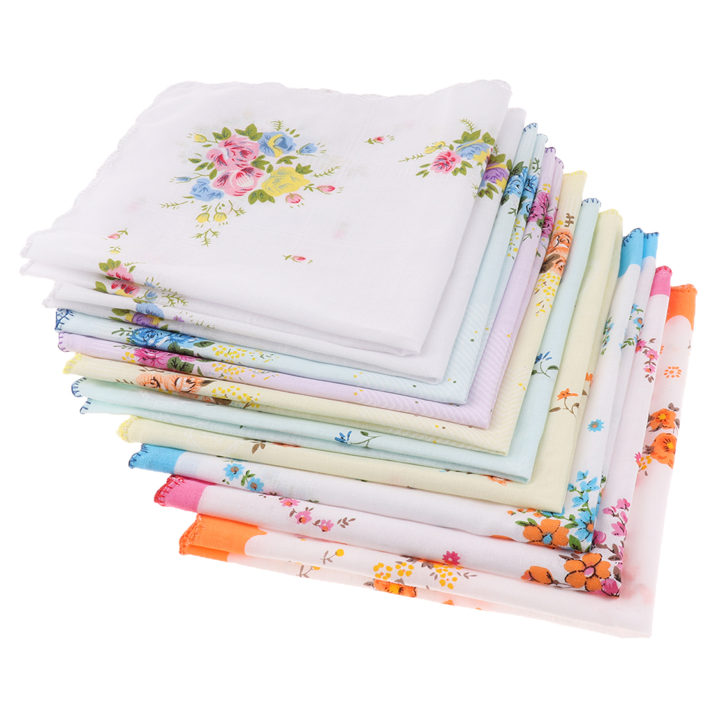 10PCS Women Handkerchiefs 100% Cotton Printed Hankies Wedding Pocket Square 30x30cm