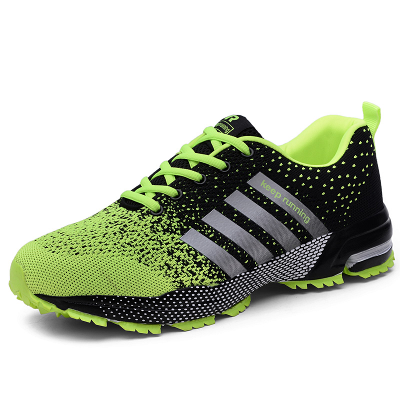 Big Size 35-47 Mens Running Shoes Breathable Flyknit Sneakers Women Lightweight Sports Shoes Woman Black Green Road Trainers