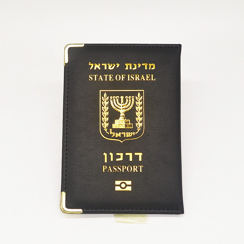 Black Israel Passport Cover Women Pu Leather Israelis Passport Holder Travel Wallet Cute Pink Case For Passports