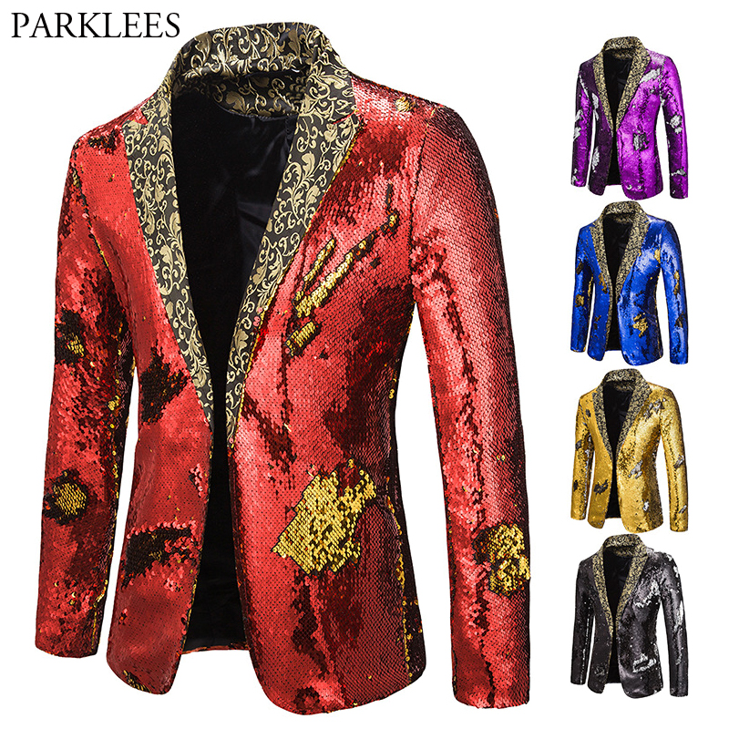 Mens Blazer Coat Shiny Sequin Blazer Men Luxury Wedding Singer Prom Glitter Mens Suit Jacket Club DJ Stage Blazer Masculino