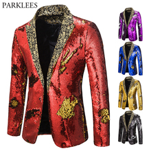 Mens Blazer Coat Shiny Sequin Blazer Men Luxury Wedding Singer Prom Glitter Mens Suit Jacket Club DJ Stage Blazer Masculino