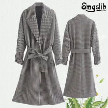 2019 winter blend woolen overcoat women england vintage plaid oversize loose sashes long coat trench coat women plus size floral trench coat women autumn and winter fashion runway plus size vintage royal embroidery lady woolen overcoat female m 4xl