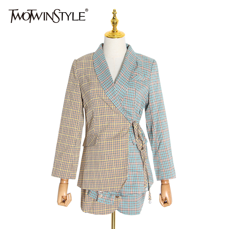 TWOTWINSTYLE Plaid Hit Color Lace Up Bowknot Two Piece Set For Women Blazer Notched High Waist Skirt Suit Female 2020 Spring New