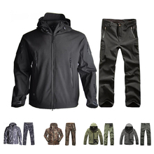 Hot TAD Softshell Jacket and Pants Military Camouflage Suits Waterproof Jackets Outdoor Hiking Windbreaker Men Clothes