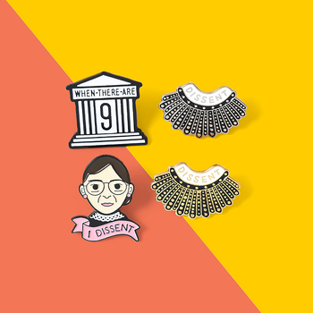 When there are I Dissent pins Feminism Rectangle pins Ginsburg Rule Boys Drool Lapel pins Female Justice Feminist Jewelry Gifts image