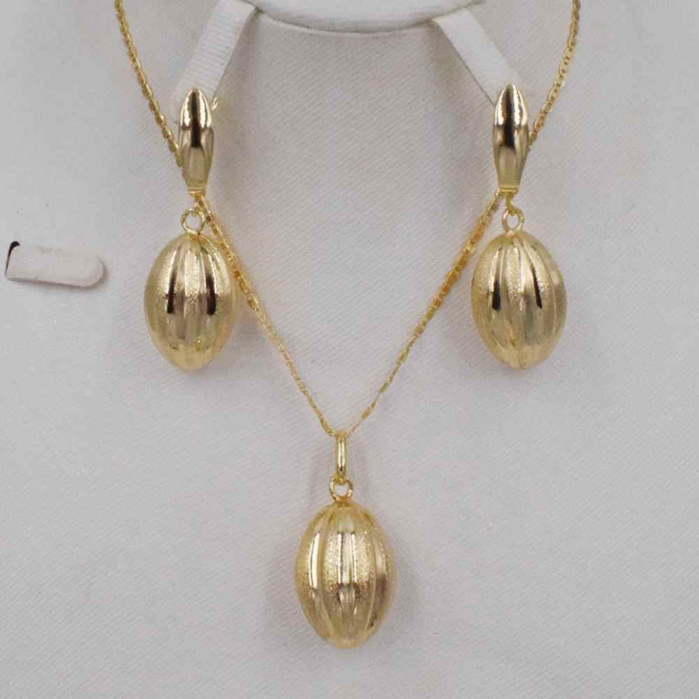High Quality Italy 750 Gold color  Jewelry Set For Women african beads jewlery fashion necklace set earring  jewelry
