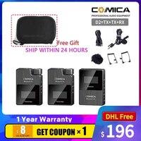 COMICA-micrófono inalámbrico Digital BoomX D2 Mini 2,4G, con Modo de Salida conmutable Mono/estéreo para cámara Boom XD