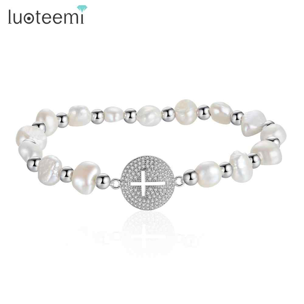 LUOTEEMI New Trendy Irregular Natural Pearl Bracelet for Women Girls Wedding Party Rose Gold/White Gold Color Fashion Jewelry