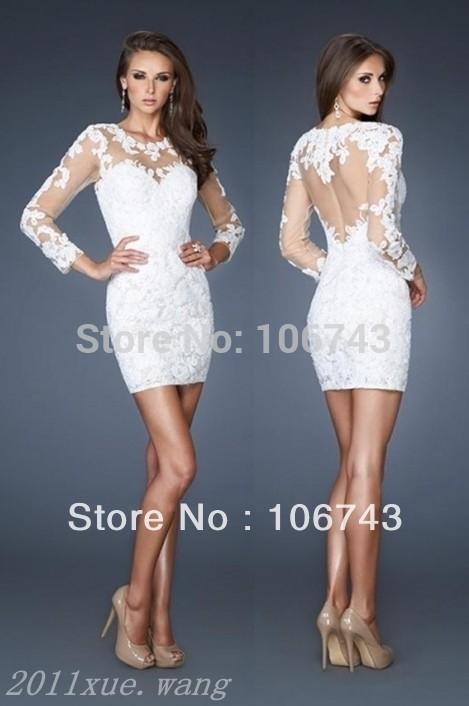 Vestidos De Novia 2018 New Design White Sexy Backless Long Sleeve White Lace Party Custom Short Mother Of The Bride Dresses