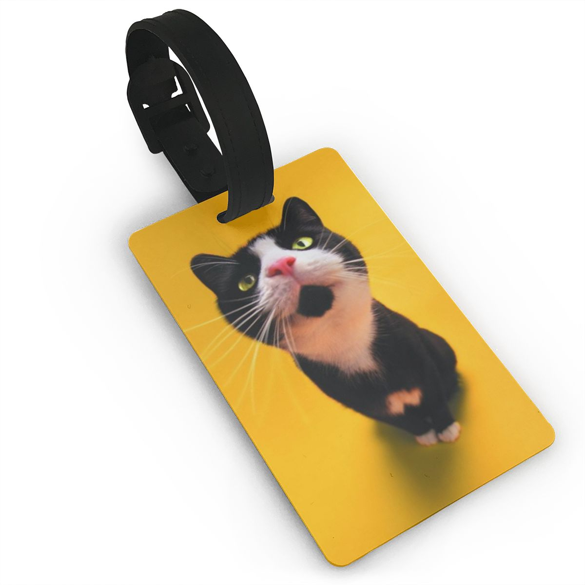 NOISYDESIGNS New PVC Travel Luggage Baggage Tag Animals Cat Print Yellow Suitcase Identity Address Name Labels Drop Shipping