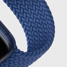 Boucle Solo tressée pour Apple Watch 44mm 40mm 38mm 42mm, Bracelet de ceinture élastique en Nylon pour iWatch série 3 4 5 Se 6