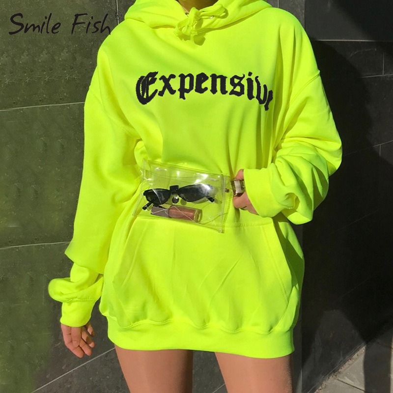 2019 Neon Green Loose Hoodies Letter Print Pockets Autumn Warm Hooded Long Pullovers Casual Women Hoodies Lady Streetwear GV645
