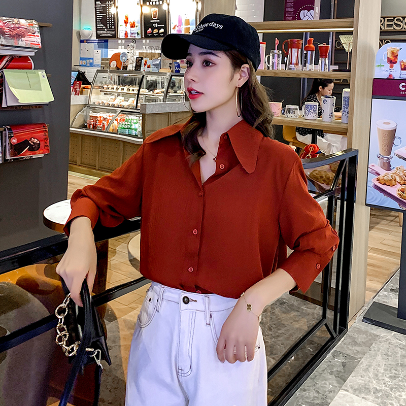 Vintage Wine red Shirt Women's Long Sleeve Elegant Temperament Professional Blouse Female Office Lady Work Top 2020 Spring Tunic