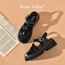 BeauToday sandały gladiatorki platforma kobiety krowa skóra tkany wzór t-strap kliny Retro letnie damskie buty Handmade 38174