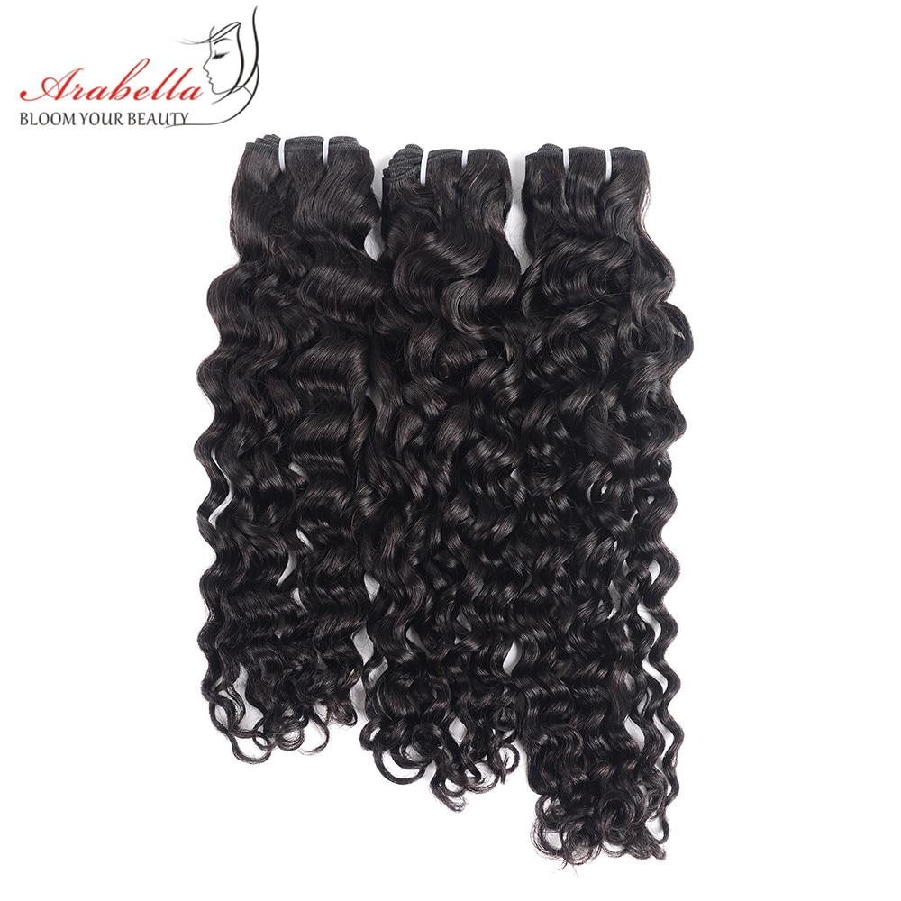 Super Double Drawn Water Wave Hair Bundles With Closure Pre Plucked Bleached Knots Arabella Virgin Hair  Bundles 3