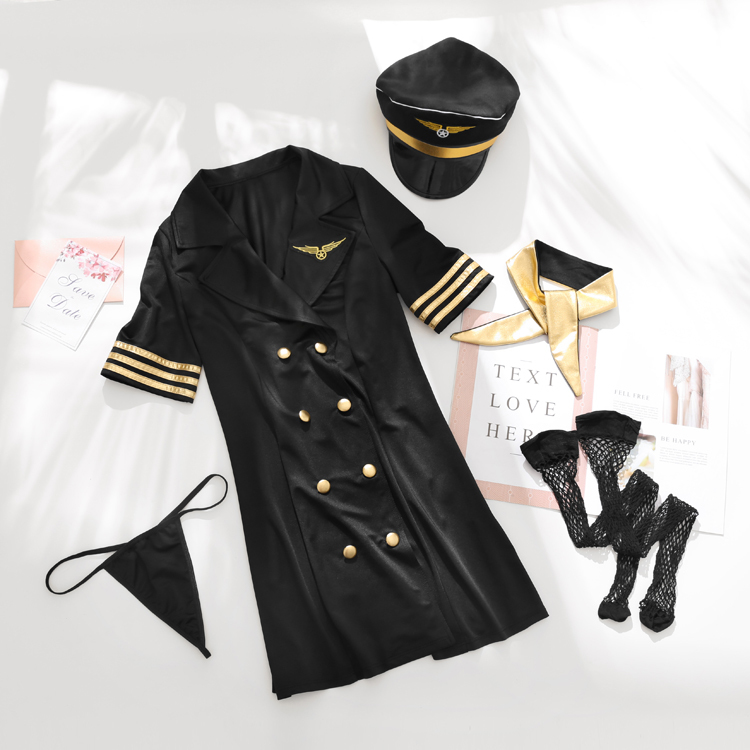 Women's Stewardess Costume Mini <font><b>Dress</b></font> Themed Party Lingerie Cosplay Flight Attendant Uniform Erotic <font><b>Sexy</b></font> <font><b>Halloween</b></font> Costumes image