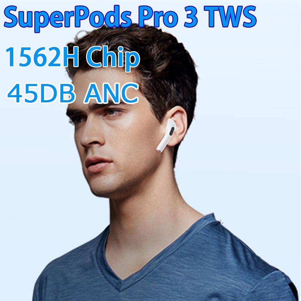 SuperPods Pro 3 45DB ANC наушники 1562H чип активный шумоподавление 12D Super Bass Bluetooth наушники 6-8 часов Высокое качество