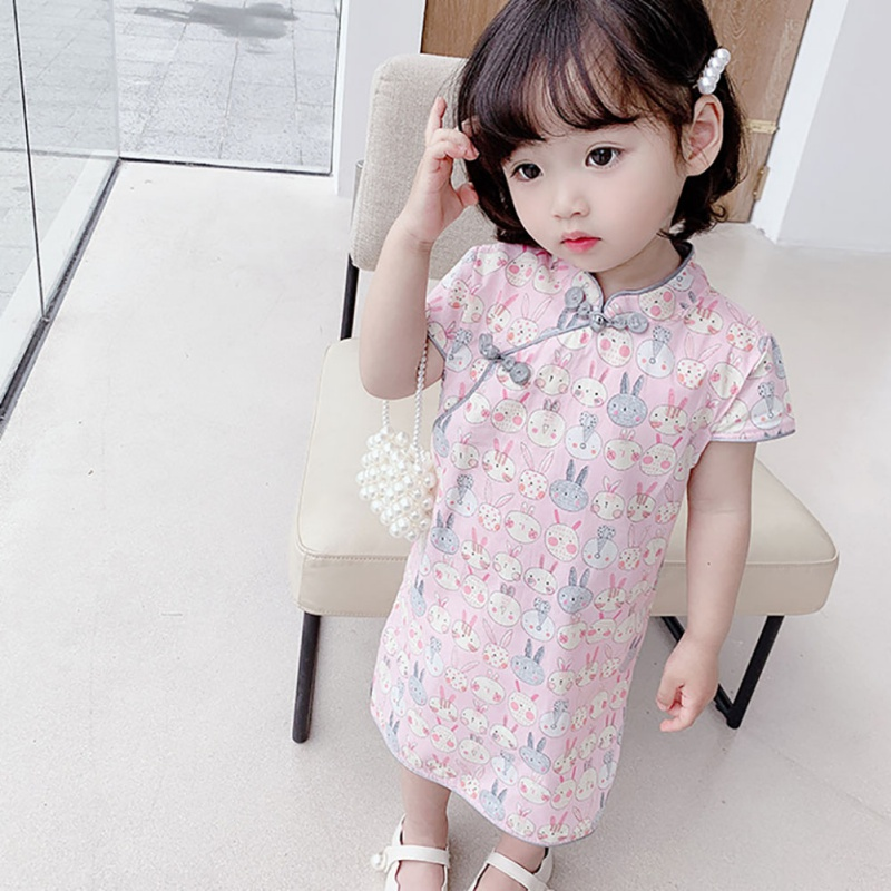 New Baby Summer Clothing 1-6Y Infant Kid Baby Girl Cute Chinese Dress Short Sleeve Knee Length A-Line Dress