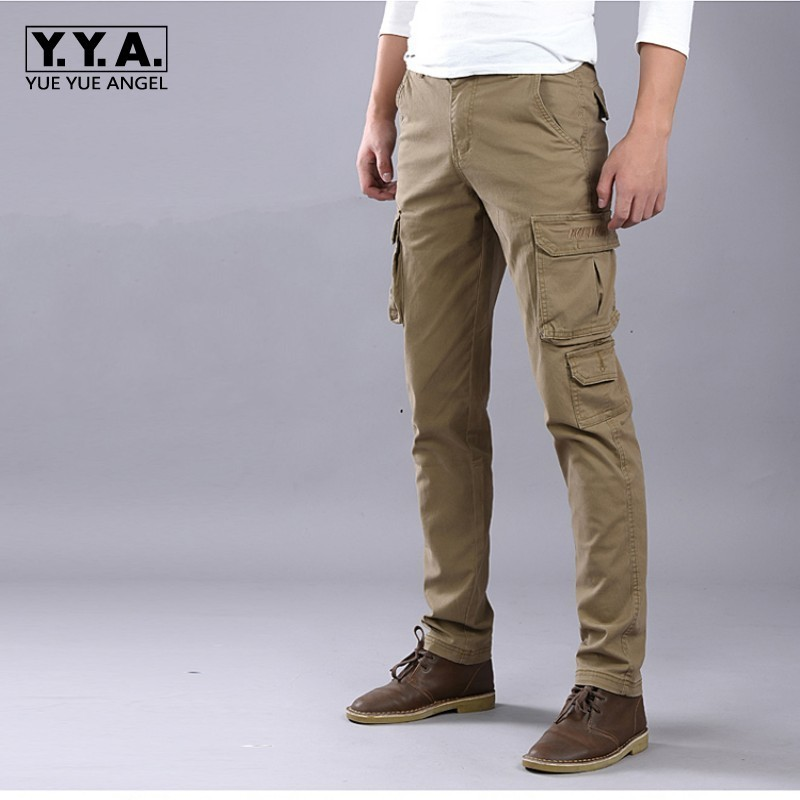 Mens Pants Packet Trousers Cotton Slim Fit Pants For Man Skinny Military Casual Cargo Overalls For Male Size 28-38 Army Green