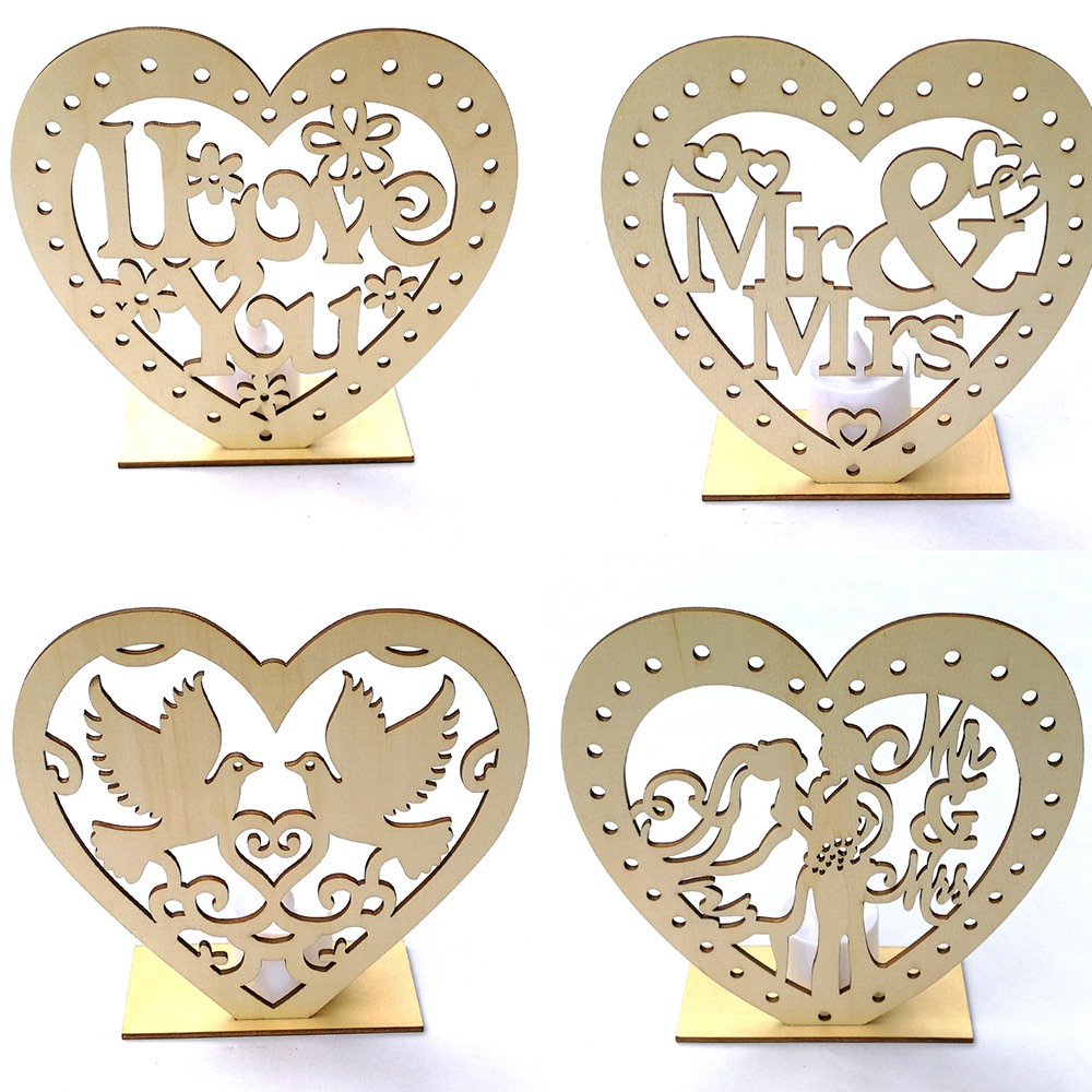SANYI LED Heart-shaped Wooden Ornaments DIY Wedding Supplies Creative Wooden Ornaments Candle Light Holiday Party Decoration
