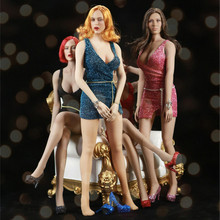 цена на FT009 1:6 Female Sexy Feale Clothes Accessory Nightclub Clothes Gold Wire Perspective Miniskirt Dress Model for 12'' Figure Body