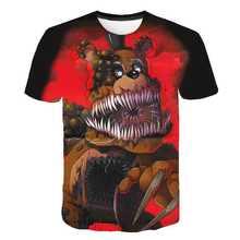 Novo verão dos desenhos animados fnaf t camisa para meninos imprimir cinco noites no freddy t camisa bonnie foxy freddy urso verão topos