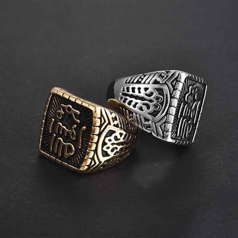 Jiayiqi трендовые кольца из титана и стали Мусульманские религиозные исламские Халяль слова Мужские Винтажные арабские Бог кольцо, украшения для бракосочетания мужской подарок