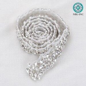Image 5 - Apliques de diamantes de imitación para vestido de novia, cinturón de banda para vestido de boda WDD0278, oro rosa, 10 yardas, venta al por mayor