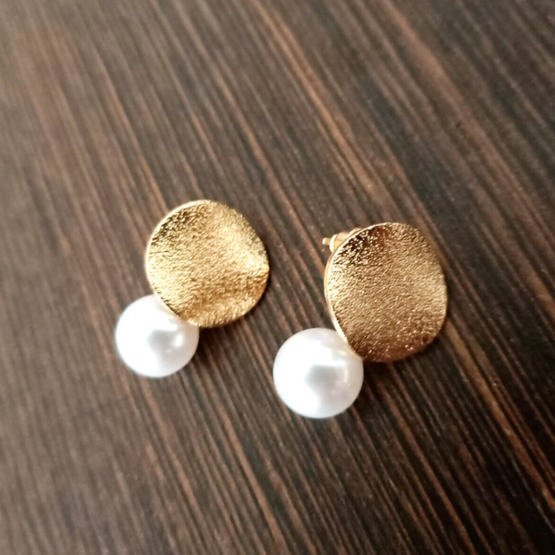 Pearl Earrings Creative Jewelry Round Minimalist-Design Girls Fashion New Matte C003