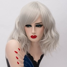 цена на GAKA Short Wig Grey White Natural Wavy Cosplay Synthetic Hair Red Wig with Side Bang  for Women