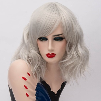 GAKA Short Wig Grey White Natural Wavy Cosplay Synthetic Hair Red Wig with Side Bang  for Women bob style grey ombre white fashion medium synthetic straight side bang capless wig for women page 1