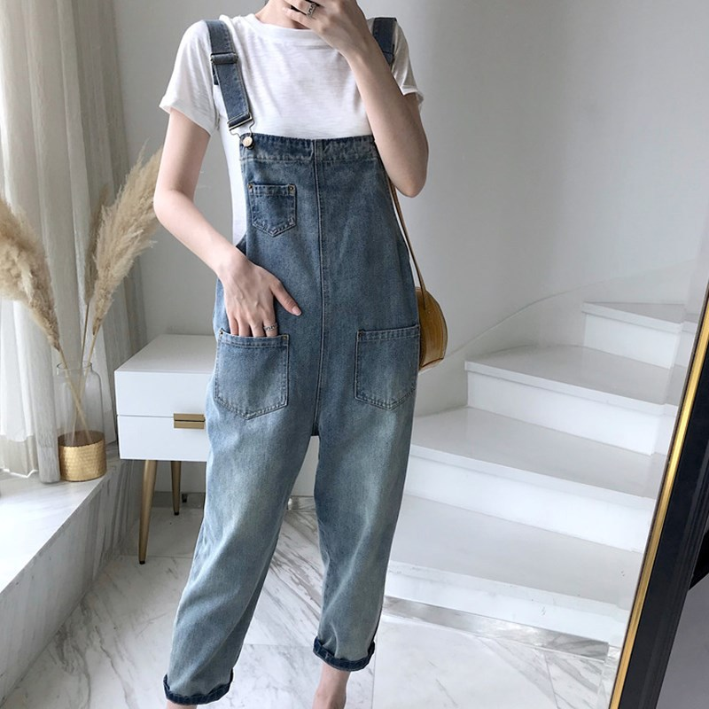 Cowboy Suspender Pants Women's Spring And Autumn 2019 New Style Online Celebrity CAT'S Paw Loose-Fit Korean-style Students Monst