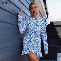 Kllien nuevo otoño bohemia playa ocio vacaciones vestido mujeres 2019 hueco espalda descubierta elegante Delgado casual ceñido mini vestido mujer