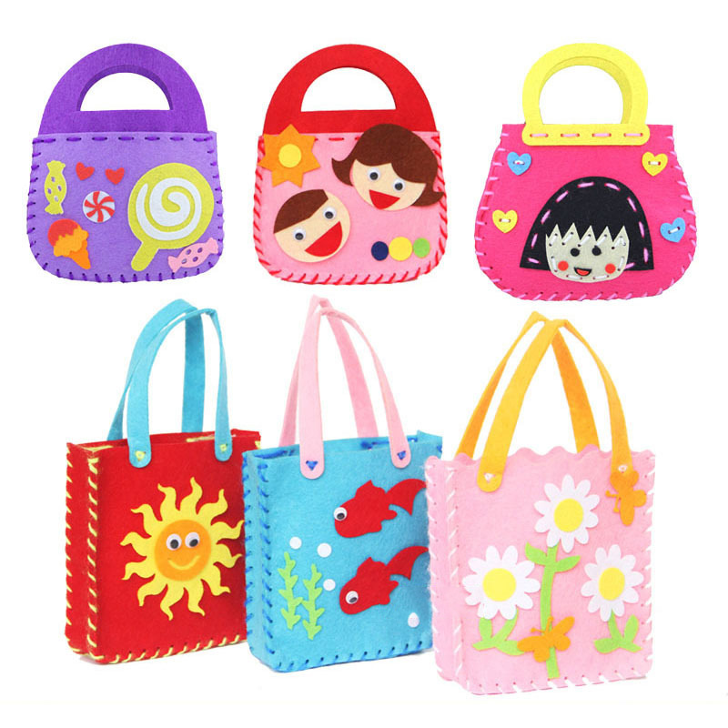 DIY Applique Bag Kids Children Handmade Montessori Toys Cloth Cartoon Animal Flower Bag Art And Craft Toys Christmas Gifts