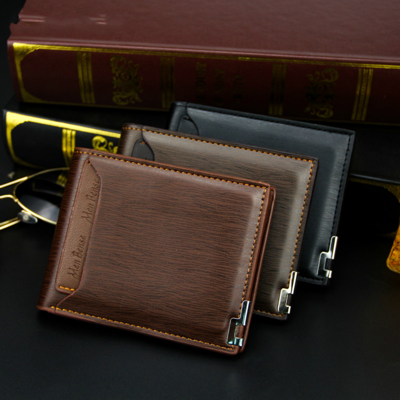 New Men's Wallet Short Multi-function Fashion Casual Iron Edge Card Wallet Showing Men's True Color Wallet