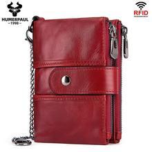 Gran oferta 2020, monedero a la moda, bolsa con cierre, billetera de piel auténtica para mujer, monedero corto con tarjetero, diseño de cerrojo