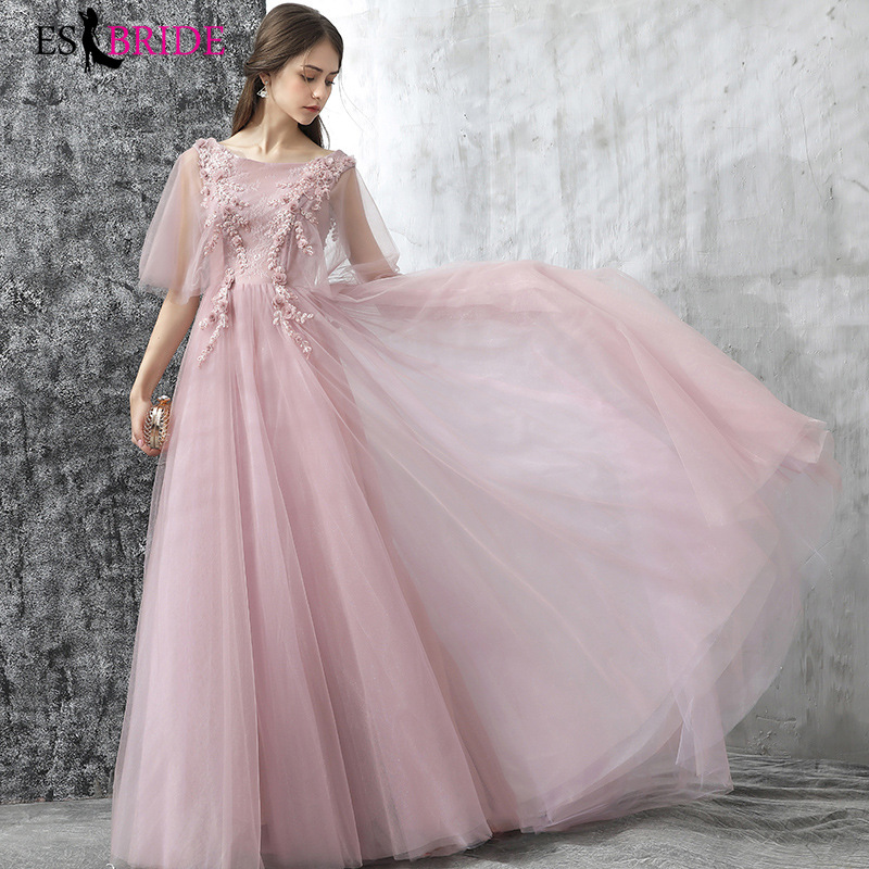 Formal Evening Dresses Long ES30195 Women Elegant Blush Pink Red V Neck Ruffles Sleeves Empire Evening Dresses 2019 New