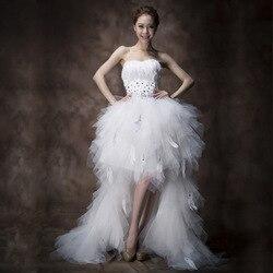 Gryffon Wedding Dress Strapless Dress Classic Feather Front Short Back Long Lace Up Gowns Princess Luxury Wedding Dresses