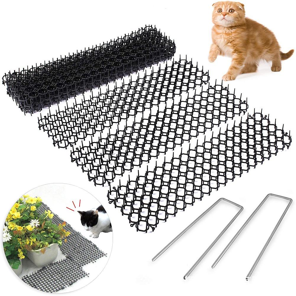 10Pcs 13cmx49cm Garden Prickle Strip Dig Stop Cat Repellent Deterrent Mat Spike Portable Anti-Cat Dog Outdoor Garden Supplies